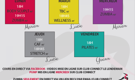 Planning live covid19 Musculation Fitness Cours Collectifs Zumba Salle de sport Plaisance-du-Touch